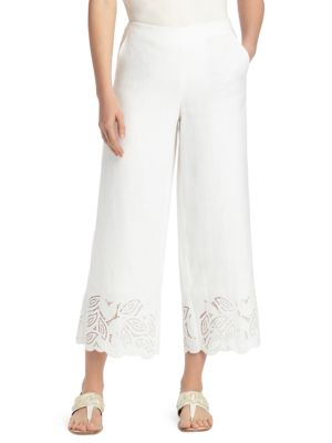 Lafayette 148 Morton Embroidered Linen Pants
