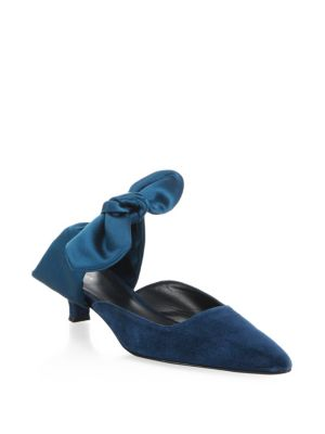 Coco Suede 40Mm Mule With Satin Bow, Blue