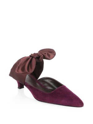 Coco Suede 40Mm Mule With Satin Bow, Lily Rose