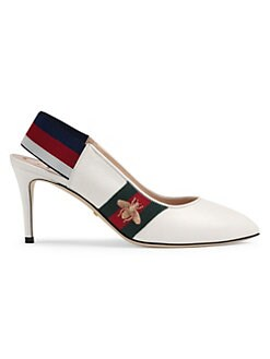 7b58e0709d2 QUICK VIEW. Gucci. Sylvie Leather Web Mid-Heel Slingback Pumps