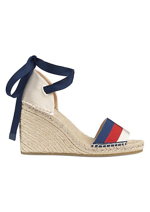 """Image of Sylvie Web canvas strap. Off-white canvas. Grosgrain lace-up closure. Cord platform. Materials made in Italy. Shoe constructed in Spain. Wedge heel 2.75"""" (70mm)."""