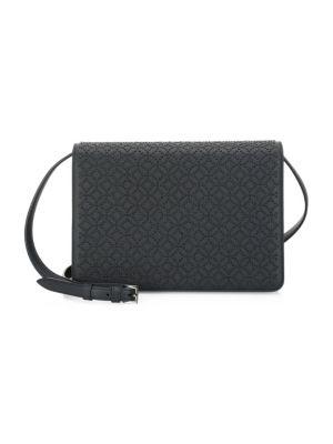 Large Arabesque Studded Leather Shoulder Bag, Black