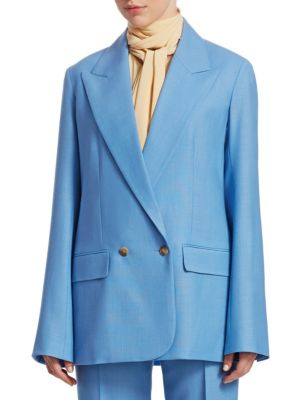 Presner Double-Breasted Oversized Wool Jacket, French Blue