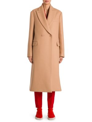 STELLA MCCARTNEY Double-Breasted Camel Wool Coat, Soft Camel