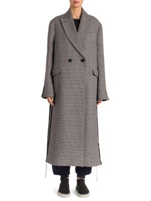 Chana Double Breasted Houndstooth Wool Coat, Ink Ivory