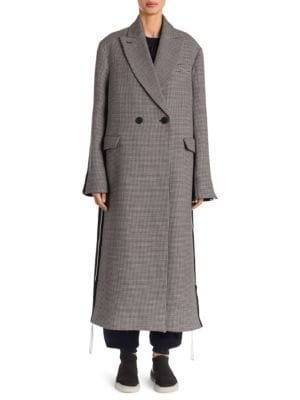 STELLA MCCARTNEY Chana Double Breasted Houndstooth Wool Coat, Ink Ivory