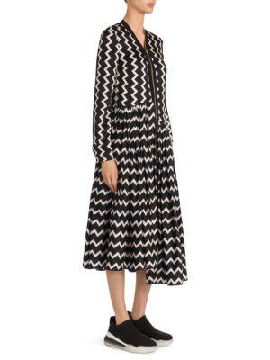 Zigzag-Print Zip-Front Asymmetric-Hem Silk Dress in Black