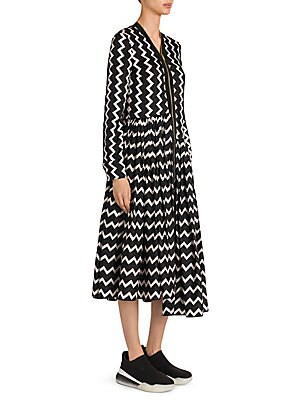 9e06beffd37e Stella McCartney - Zip Front Zigzag Silk Dress
