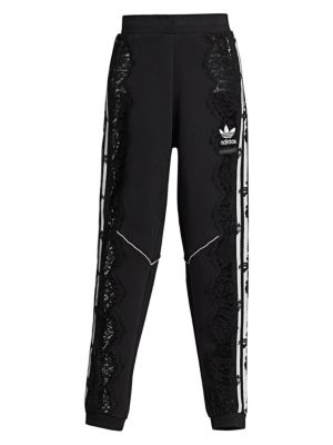 Adidas Originals Lace-Paneled Cotton-Jersey Track Pants, Black