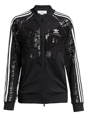 Zip-Front Sweatshirt Jacket W/ Lace Inset in Black