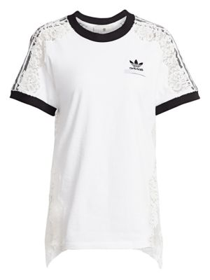 Adidas Originals Lace-Paneled Cotton-Jersey T-Shirt, Pure White