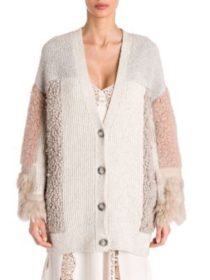Oversized Patchwork Cotton-Blend And Faux Fur Cardigan, Bone Camel