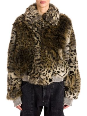 Leopard Print Faux Fur Jacket In Beige, Brown
