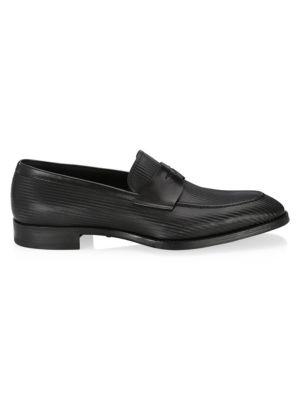 Giorgio Armani Illusion Stripe Leather Loafers