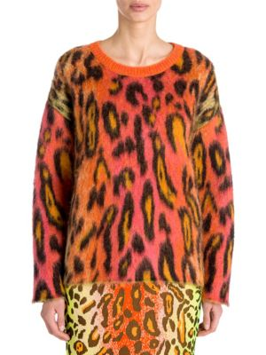 Animal-Print Oversized Neon Mohair Pullover Sweater, Multi