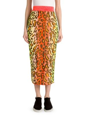Neon Animal-Print Fitted Pull-On Midi Skirt in Yellow