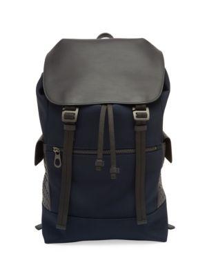 BOTTEGA VENETA Intrecciato Trim Canvas Backpack, New Light Grey Black