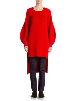 High-Low Balloon-Sleeve Ribbed Wool Tunic Sweater, Lover Red