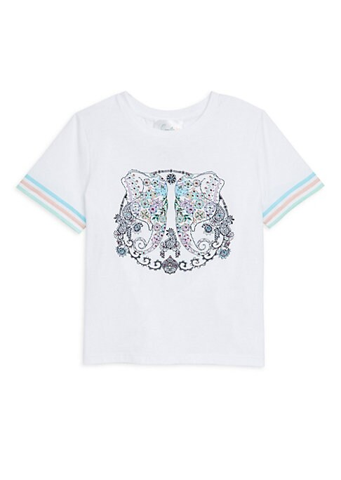 Image of Boho short sleeve tee with embellished elephant print. Crewneck. Short sleeves. Pull-on style. Cotton. Machine wash. Imported.