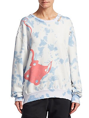 Image of From the Es Vedra Collection. This slouchy, oversized sweatshirt is a collaboration with famed Los Angeles tattoo artist Dr. Woo. A graphic stingray silhouette stands out against a sunbleached tie-dye backdrop, with distressed details throughout the garme