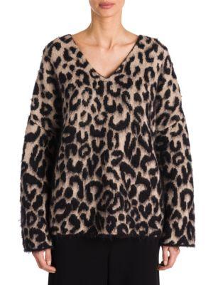 STELLA MCCARTNEY Brushed Cotton-Blend Jacquard Sweater, Bone Black
