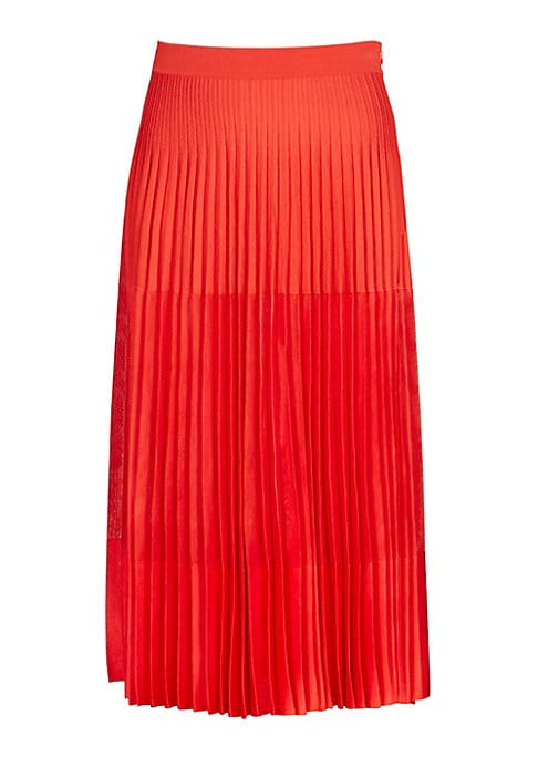 """Image of Accordion pleats add texture to this flowy midi while tonal colorblocking nuances visual design. Banded waist. Concealed side zip close. Acorrdoin pleats. Viscose/polyester. Dry clean. Made in Italy. SIZE & FIT. Midi skirt. Length, about 32"""".Model shown i"""