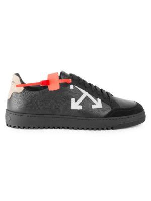 Off White Applique Logo Sneakers, Black White