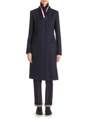 Single-Breasted Ribbed-Collar Wool Coat, Ink