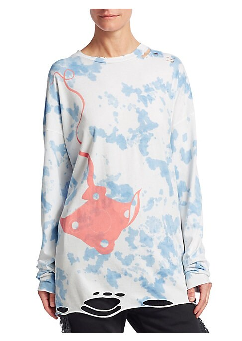Image of From the Es Vedra Collection. This slouchy, oversized long-sleeved tee is a collaboration with famed Los Angeles tattoo artist Dr. Woo. A graphic stingray silhouette stands out against a sunbleached tie-dye backdrop, with distressed details throughout the
