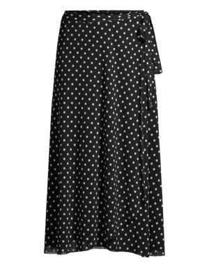 FUZZI SWIM Polka Dot-Print Coverup Wrap Skirt in Black