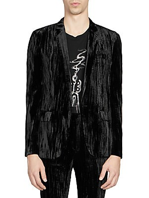 """Image of From the Saks IT LIST VELVET Give your evening a festive formal update. THE JACKET The wear everywhere layer that instantly dresses you up. Crushed velvet jacket in button-front style Notch lapel Long sleeves Front flap pockets Button-front About 30"""" from"""