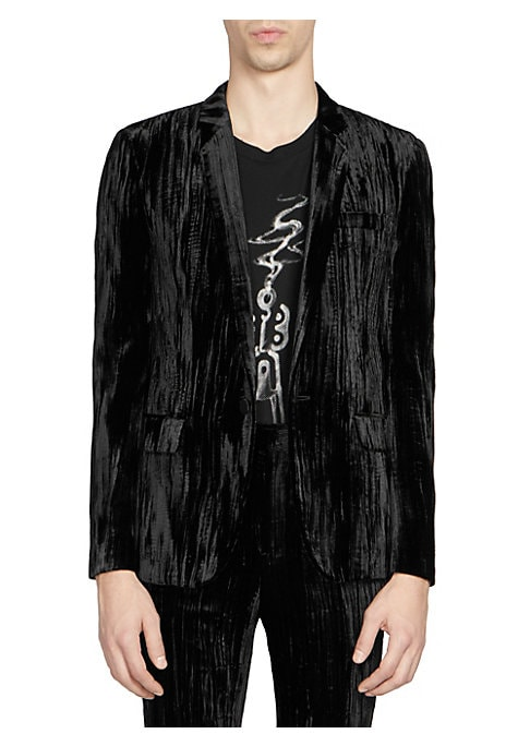 Image of From the Saks IT LIST. VELVET. Give your evening a festive formal update. THE JACKET. The wear everywhere layer that instantly dresses you up. Crushed velvet jacket in button-front style. Notch lapel. Long sleeves. Front flap pockets. Button-front. About