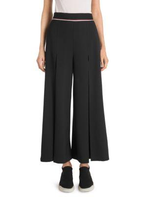 Cropped Wool-Crepe Wide-Leg Pants in Black