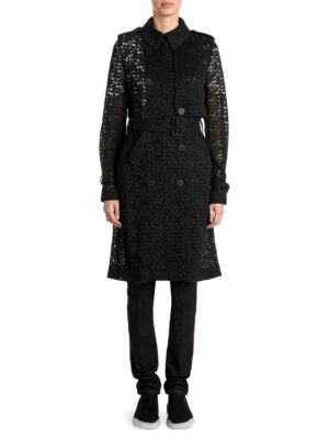 Double-Breasted Lace Trench Jacket in Black