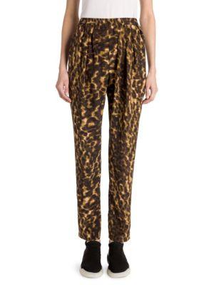Christine Leopard Camo Silk Joggers, Khaki Multi