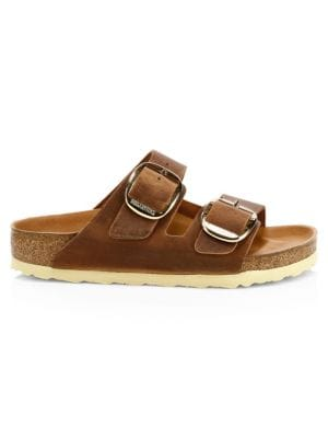 Birkenstock Arizona Big Buckle Leather Sandals In Antique Brown