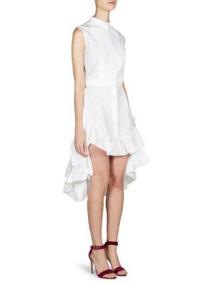 Sleeveless High-Neck Ruffled High-Low Cotton Tunic, White