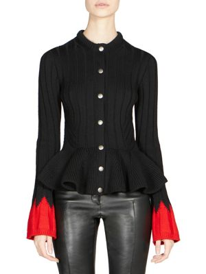 Snap-Front Ribbed Wool-Blend Sweater W/ Contrast Cuffs, Black-Red