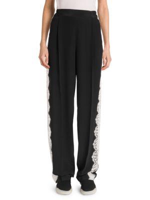 Lace Insert Wide Leg Pants in Black