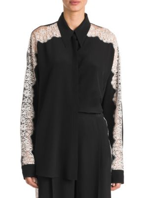 Long-Sleeve Button-Front Silk Blouse W/ Lace Insets in Black