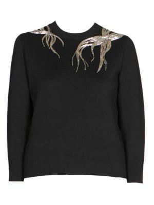 Beaded Three-Quarter Sleeve Sweater, Black