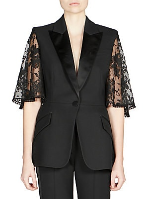 4be1c5b81e Alexander McQueen - Lace Cape Sleeve Jacket - saks.com