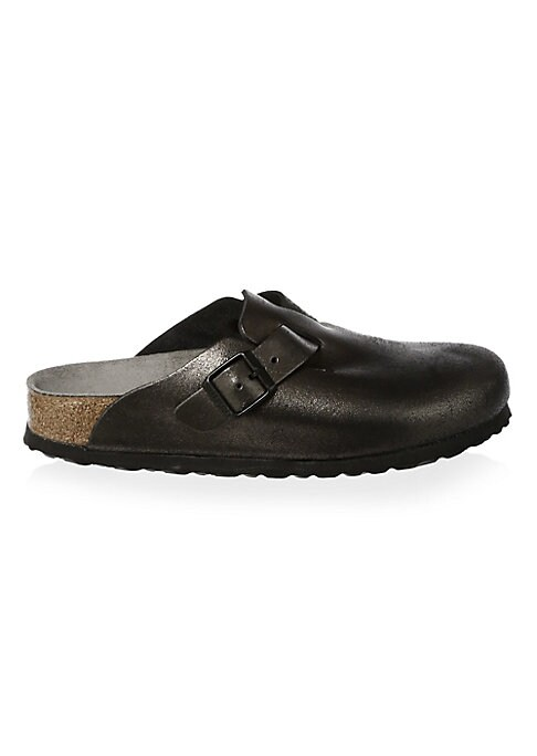 Image of Comfy leather clogs with contoured cork footbed. Cork and latex heel. Leather upper. Round toe. Slip-on style. Suede lining. EVA sole. Made in Germany.