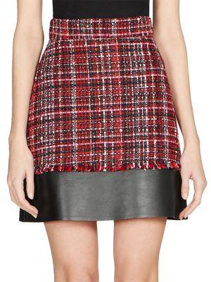 Tweed Mini Skirt W/ Leather Hem in Red