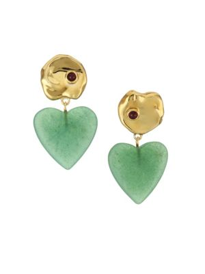Lizzie Fortunato Venice 18K Goldplated Green Quartz & Garnet Drop Earrings
