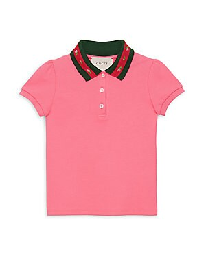 Image of Essential polo shirt is cut from soft breathable cotton for all day comfort Spread collar Three-button placket Short sleeves Ribbed at collar and cuffs Cotton Machine wash Made in Italy. Children's Wear - Gucci Kids. Gucci. Color: Pink. Size: 10.