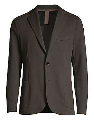 Image of From the Saks IT LIST THE JACKET The wear everywhere layer that instantly dresses you up. Smooth stretch cotton-blend finish offers luxurious styling to classic suit jacket. Notched lapels Long sleeves Buttoned cuffs Button front Chest welt pocket Waist p