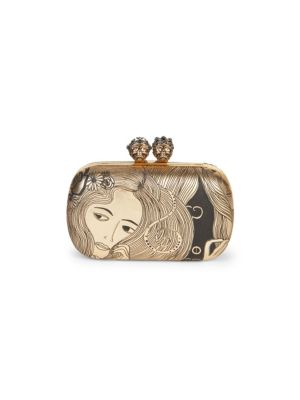 Queen And King Classic Skull Clutch, Gold
