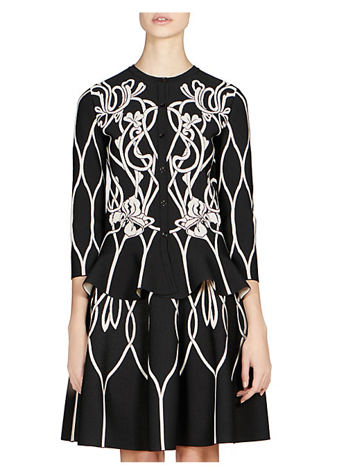 """Image of A monochromatic floral print adds a gothic twist to this peplum cardigan. Roundneck. Three-quarter sleeves. Front button closure. Viscose/polyester/polyamide/elastane. Dry clean. Made in Italy. SIZE & FIT. Fit-and-flare silhouette. About 22.5"""" from should"""