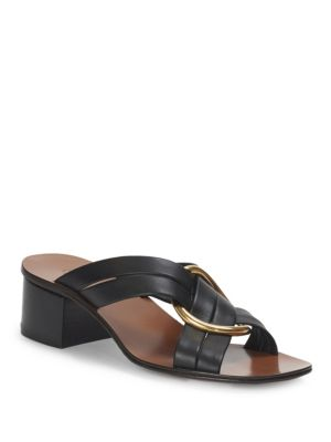Rony Criss Cross Leather Mules, Black